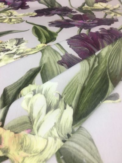 Tulips & Lilies Purple Green Cream Tex Ex 2115