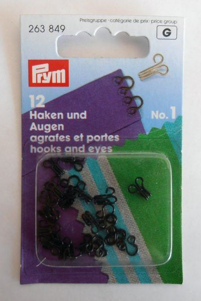 Prym Black Metal Hooks & Eyes No.1