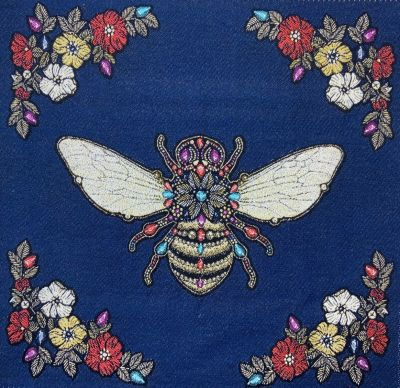 French Woven Versailles Bee Cushion Panel Royal Blue