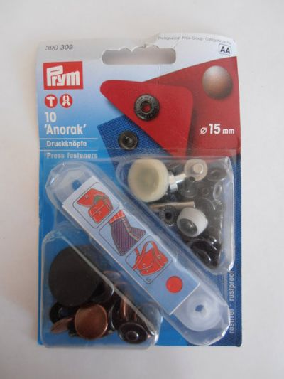 Prym Anorak Press Buttons Fasteners Bronze 15mm