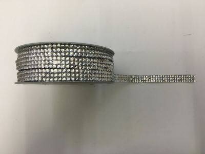 3-Row Iron On Rhinestones Silver