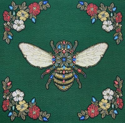 French Woven Versailles Bee Cushion Panel Emerald Green