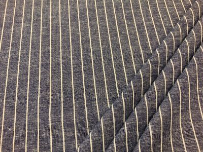Pin stripe linen viscose Dark blue C546
