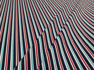 Vintage Stripe Jersey Navy, Red, Turquoise A223