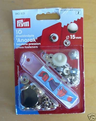 Prym Anorak Press Buttons Fasteners Silver 15mm