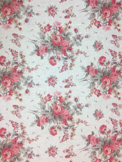Antique Rose Red Grey Linen E102