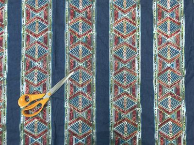Embroidered Aztec Stripe Denim Blue Multi B173
