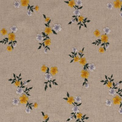Embroidered Floral Meadow Linen Yellow B196
