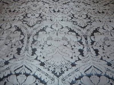 Faux Silk Damask Dark Blue