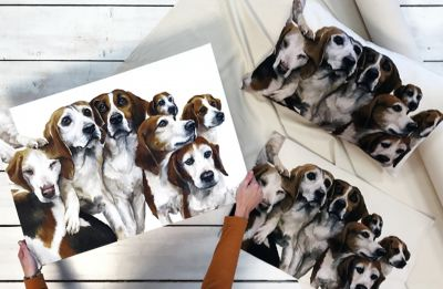Organic Cotton Beagles Oblong Natural Panel
