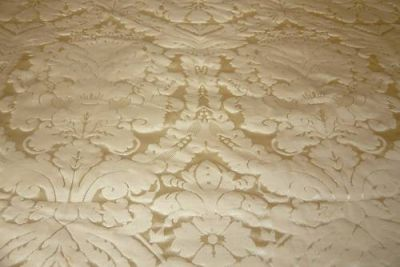 Faux Silk Damask Beige