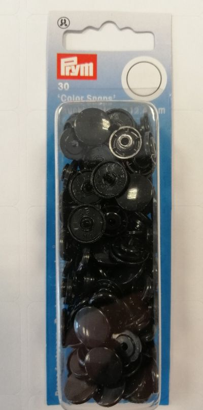 Prym Non Sew Colour Snap Fasteners Black