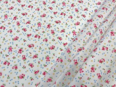 Bows and Roses Ivory Pink Blue C449