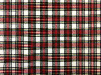 Brushed Cotton Tartan White Red Green C123