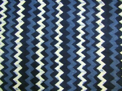 Hand Printed Chevron Cotton Navy C258