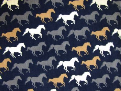 Horse Polar Fleece Navy Brown Grey C374