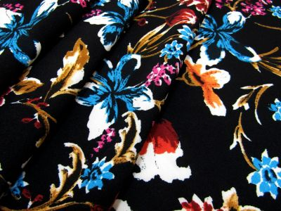 Oriental Flowers Stretch Crepe Black C428