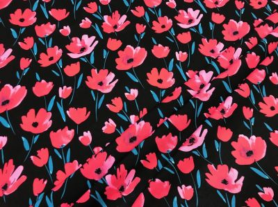 Poppy Field Viscose Black Pink C434