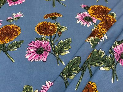 Daisy And Dahlia Viscose Blue Pink Orange C436