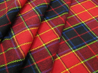 Brushed Cotton Tartan Red Yellow Blue C441