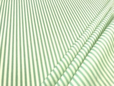 Cotton Poplin Ticking Stripe Mint Green C451