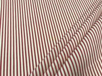 Cotton Poplin Ticking Stripe Red C453