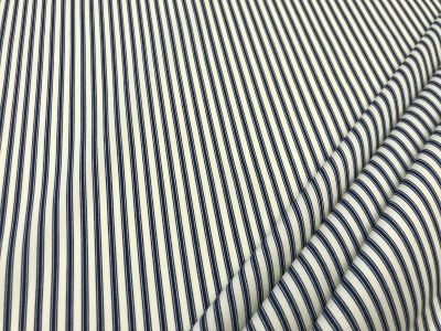 Cotton Poplin Ticking Stripe Navy C454