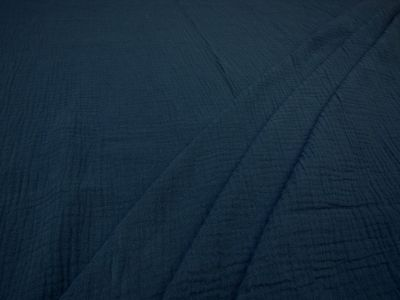 Muslin Double Cloth Crinkle Navy C474