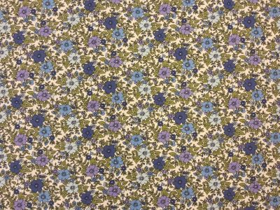 Vintage Floral Cotton Poplin Blue C58