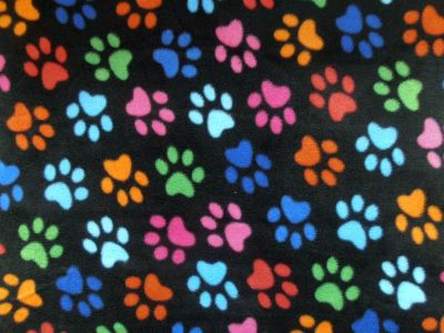Paw Print Polar Fleece Black C6433