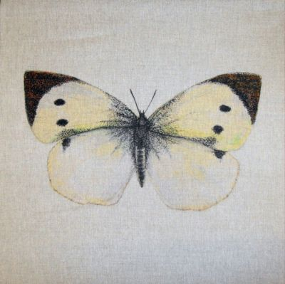 Cabbage White British Butterflies Cushion Panel