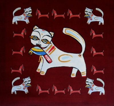Indian Ocean Delhi Cats Burgundy Cushion Panel