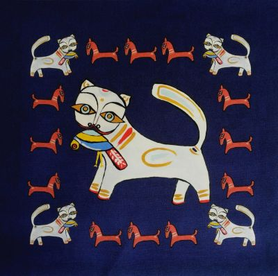 Indian Ocean Delhi Cats Navy Cushion Panel