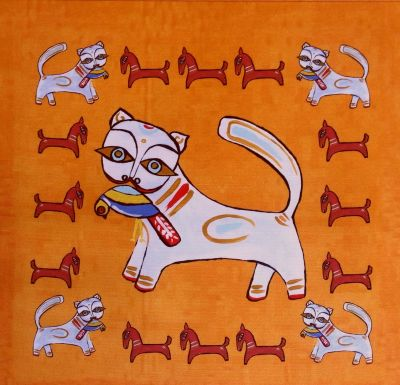 Indian Ocean Delhi Cats Orange Cushion Panel