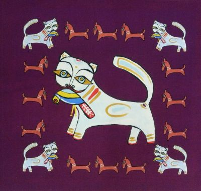 Indian Ocean Delhi Cats Purple Cushion Panel