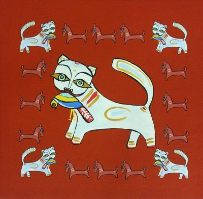 Indian Ocean Delhi Cats Red Cushion Panel