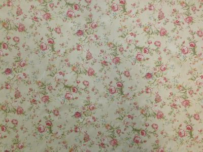 Antique Floral Cotton Poplin Ivory CP0321