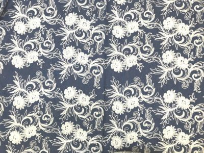 Creeping Floral Embroidered Denim Blue/ Cream B166