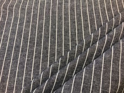 Pin stripe linen viscose Black  C544