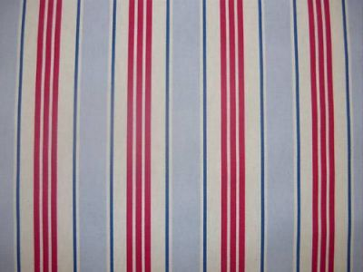 Clarke and Clarke Deckchair Stripe Powder Blue Red