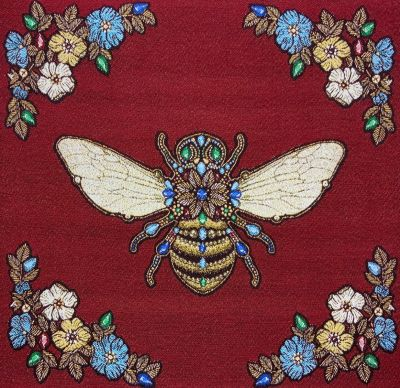 French Woven Versailles Bee Cushion Panel Ruby Red