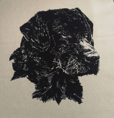 Organic Cotton Cushion Panel Black Lab