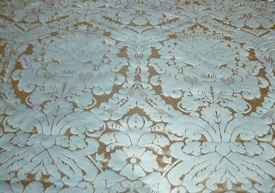 Faux Silk Damask Duck Egg Gold