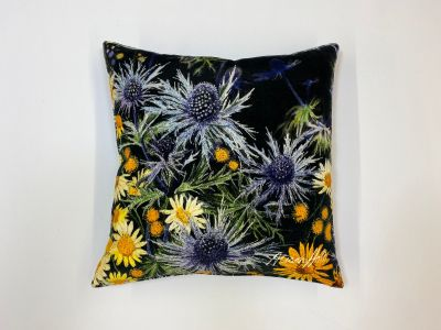 Alison Holt Eryngium Daisies Cotton Velvet Cushion
