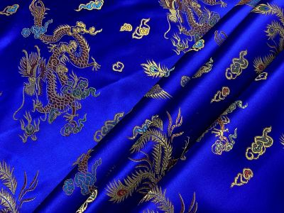 Oriental Dragon Satin Jacquard Royal F16