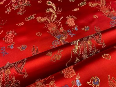 Oriental Dragon Satin Jacquard Red F18