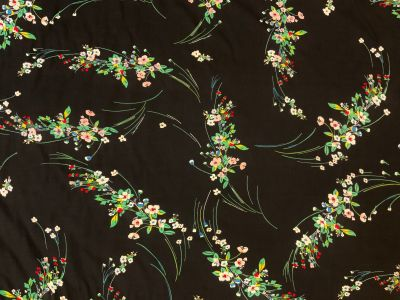 Bouquet Flower Silk Touch Viscose Black U159