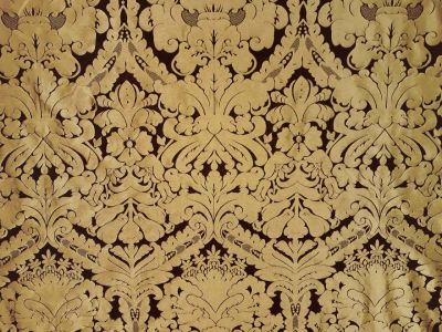 Faux Silk Damask Black Gold