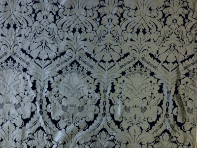 Faux Silk Damask Black Grey