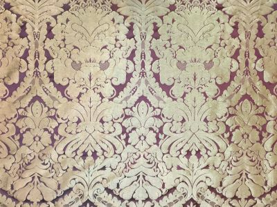 Faux Silk Damask Plum Gold